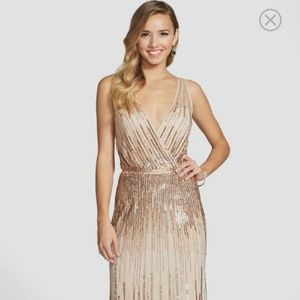 Adrianna Papell Gold Sequin Dress